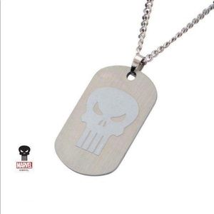 Punisher stainless steel clear coated necklace